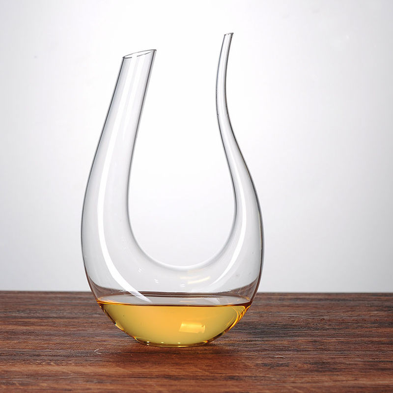 1 Liter U Shaped Glass Wine Decanter 100% Hand Blown Lead Free Sodalime Glass